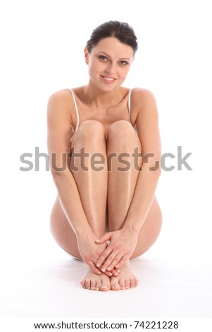 Happy smile from beautiful healthy young woman wearing white sports underwear. - stock photo