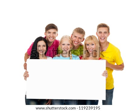 Happy smile group of young people holding a blank white card board, signboard, empty bill board Isolated over white background