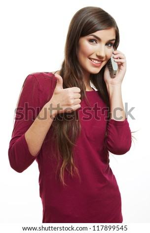 Happy smile woman mobile phone talking. Teenager girl isolated portrait on white background. Female young model thumb up show