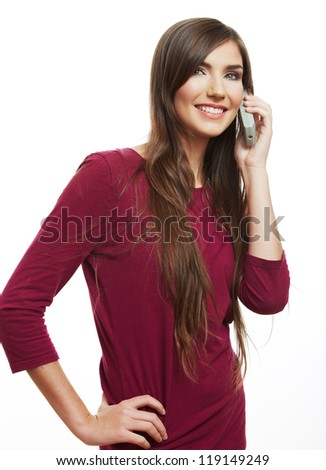 Happy smile woman mobile phone talking. Teenager girl isolated portrait on white background. Female young model .