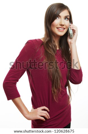 Happy smile woman mobile phone talking. Teenager girl isolated portrait on white background. Female young model