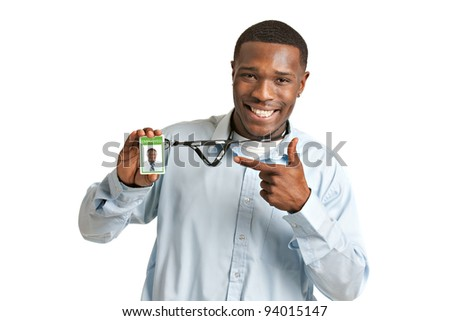 Happy Smiling African American Worker Carrying Employee Badge on Isolated White Background - stock photo