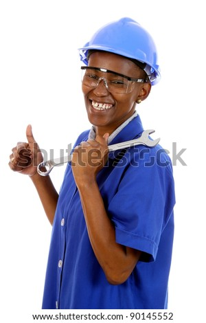 Happy smiling African ethnic lady with spanner and protective glasses and hat - stock photo