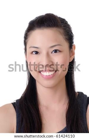Happy smiling Asian girl, closeup portrait on white. - stock photo