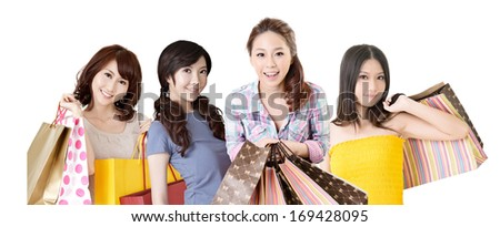 Happy smiling Asian shopping women on white background. - stock photo