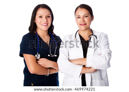 Happy smiling attractive medical doctor and nurse team together, healthcare concept.