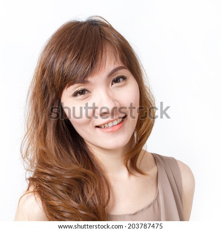 happy, smiling, beautiful, positive woman on isolated white background, facial closeup shot