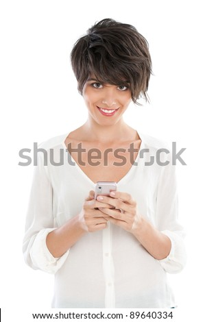 Happy smiling beautiful woman with her smart phone isolated on white background - stock photo