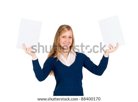 Happy smiling beautiful young business woman showing blank signboards - stock photo