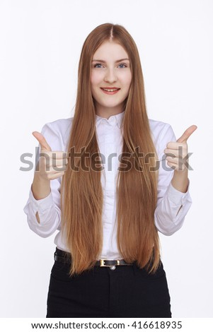 Happy smiling beautiful young businesswoman - stock photo