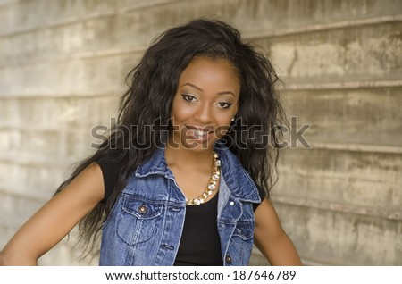 Happy smiling beautiful young woman  - stock photo