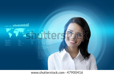 Happy smiling brunette futuristic interface (outstanding business people in interiors / interfaces series) - stock photo