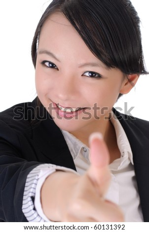 Happy smiling business girl thumbs up, closeup portrait on white background. - stock photo