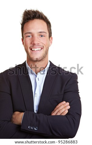 Happy smiling business man with arms crossed - stock photo
