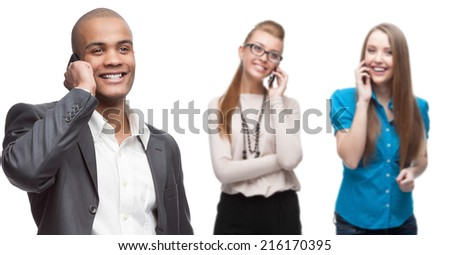 happy smiling business people calling by mobile telephone isolated on white