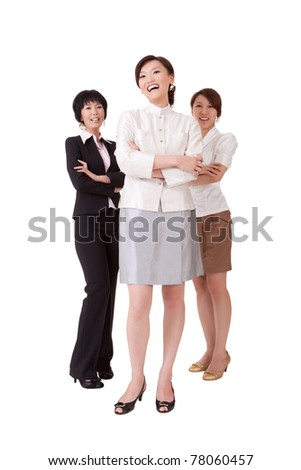 Happy smiling business team with three Asian businesswomen, full length portrait isolated on white background.