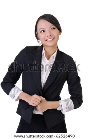 Happy smiling business woman, closeup portrait on white background. - stock photo