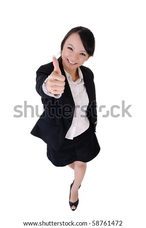 Happy smiling business woman give you a excellent sin, full length portrait isolated on white background. - stock photo
