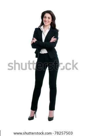 Happy smiling business woman in suit isolated on white background - stock photo