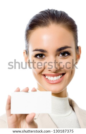 Happy smiling business woman showing blank business card, isolated over white backround - stock photo