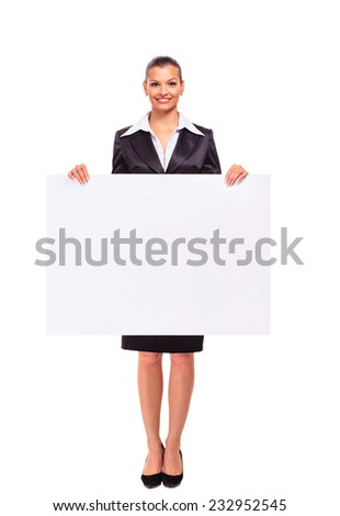 Happy smiling business woman showing blank signboard, isolated on white background - stock photo