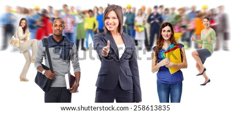 Happy smiling business woman showing her thumb. Success. - stock photo