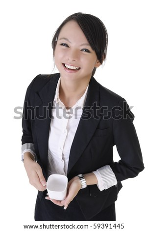 Happy smiling business woman with cup of drink, closeup portrait on white background. - stock photo