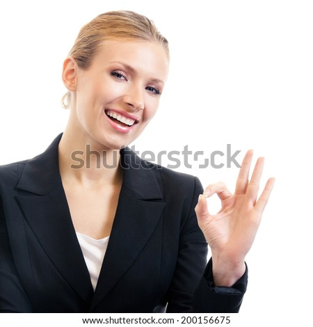 Happy smiling business woman with okay gesture, isolated on white background - stock photo