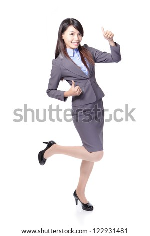 Happy smiling business woman with thumbs up gesture in full length isolated on white background, model is a asian beauty - stock photo