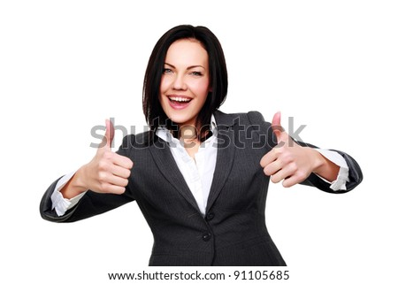 Happy smiling business woman with thumbs up gesture, isolated on white background - stock photo