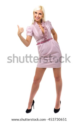 Happy smiling business woman with thumbs up gesture, isolated on white background in full length. - stock photo