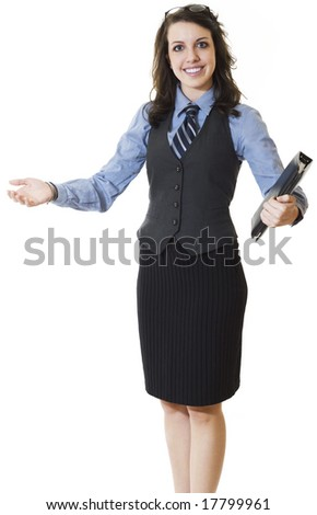Happy smiling businesswoman - stock photo