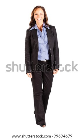 happy smiling businesswoman isolated on white - stock photo