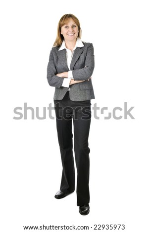 Happy smiling businesswoman isolated on white background