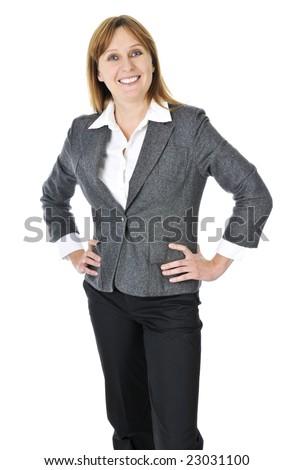 Happy smiling businesswoman isolated on white background - stock photo
