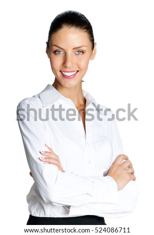 Happy smiling businesswoman, isolated on white background. Caucasian brunette female model in business success concept studio shot.