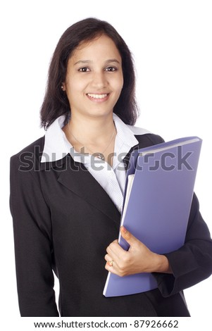 Happy smiling businesswoman with folder - stock photo