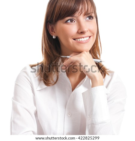 Happy smiling cheerful thinking or planning young business woman, isolated over white background - stock photo