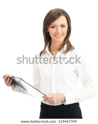 Happy smiling cheerful young businesswoman with clipboard, isolated on white background - stock photo