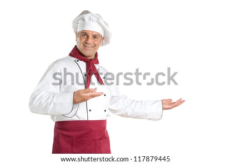Happy smiling chef presenting your recipes and products isolated on white background - stock photo