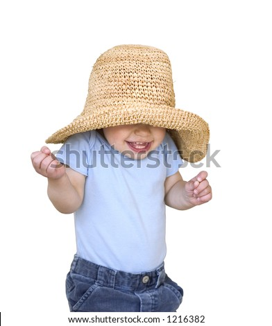 happy smiling child in a big hat isolated on white - stock photo