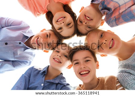 happy smiling children faces - stock photo
