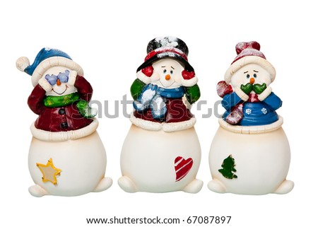 Happy smiling Christmas white Snowmen dressed with scarves and hats, see, hear and speak no Evil, covering eyes, ears and mouth, isolated. - stock photo