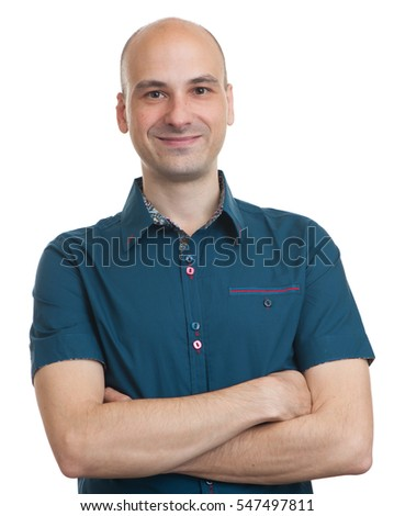happy smiling confident bald man. Isolated on white