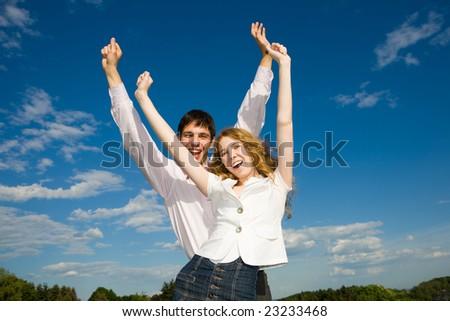 Happy smiling couple - stock photo