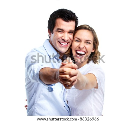 Happy smiling couple in love. Isolated over white background. - stock photo