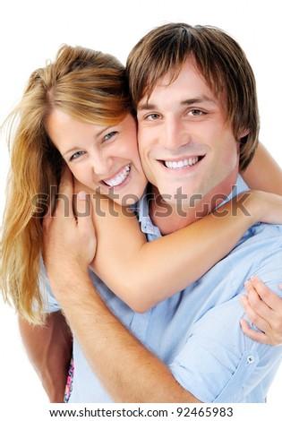 happy smiling couple portrait isolated on white - stock photo