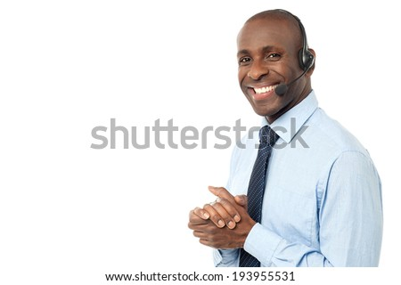 Happy smiling customer support executive - stock photo