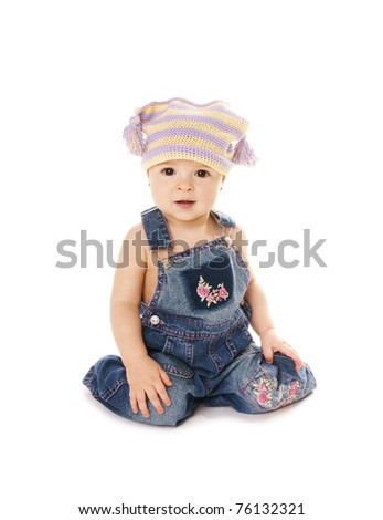 Happy smiling cute baby girl on white background - stock photo