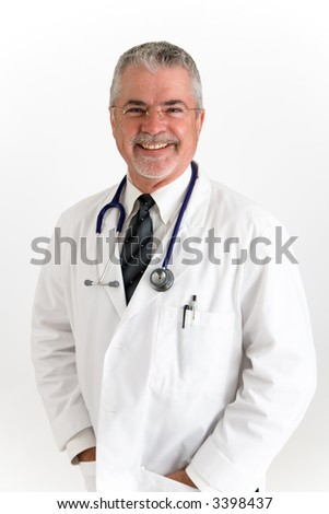 Happy smiling doctor with hand in pocket,
